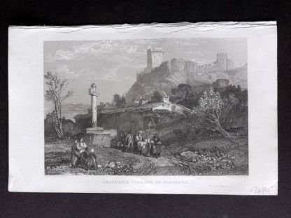 Roscoe 1834 Antique Print. Chateau & Village of Polignac, France
